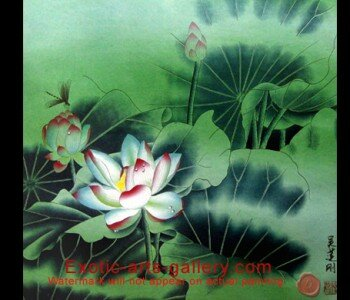 Chinese Painting Lotus Flower Painting Flower Abstract Art. Lotus flower Painting:  In Asian Decor the lotus flower painting is a symbol of Life and is used to energize positive development. The lotus flower painting brings feng shui blessing and long life. This Chinese Flower Painting, is full of yin energy
