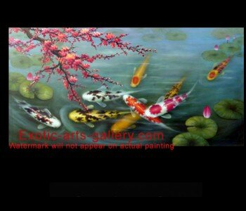 Original, Hand painted by Feng Shui Master, oil on canvas.  Japanese Koi Art. Feng Shui Fish: In Asian Decor the Japanese Koi Art brings luck and wealth. Koi Painting represent harmony and balance. Japanese Koi Art represent perseverance in the face of adversity and strength of character and purpose