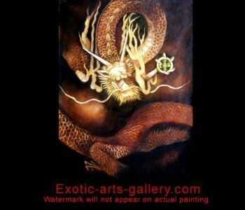 Original oil painting on canvas, hand painted by Feng Shui Master. Feng Shui Dragon Painting Dragon Feng Shui Painting 14
