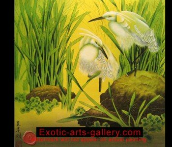 Crane Painting Asian Paintings Feng Shui Painting. Original, Hand painted by Feng Shui Master, oil on canvas. Chinese Crane Painting:  Crane Paintings bring feng shui luck and long life.