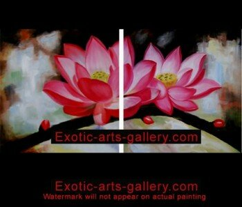 Original Hand Painted oil on canvas. Hand Painted by Feng Shui Master Framed ready to hang. Abstract Flower Painting on Canvas Art Asian Painting 3
