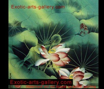 Original Hand painted, Chinese Flower Painting, oil on canvas: Lotus flower Painting:  In Asian Decor the lotus flower painting is a symbol of Life and is used to energize positive development.