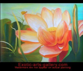 Original Hand painted, Chinese Flower Painting, oil on canvas:  In Asian Decor the lotus flower painting is a symbol of Life and is used to energize positive development. The flower painting brings feng shui blessing and long life. This Chinese Flower Painting, is full of yin energy to ensure that the Chi flows in the proper manner. Abstract Art Lotus Flower Painting Oil on Canvas 1