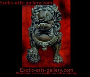 Hand Painted by Feng Shui Master. Oil on Canvas. Fu Dog Painting Foo Dogs Painting Feng Shui Artwork oil Painting 1