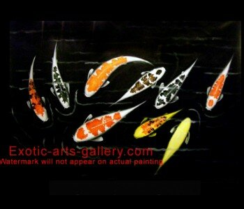 Original, Hand painted by Feng Shui Master, oil on canvas.  Japanese Koi Art. Feng Shui Fish: In Asian Decor the Japanese Koi Art brings luck and wealth. Koi Painting represent harmony and balance.